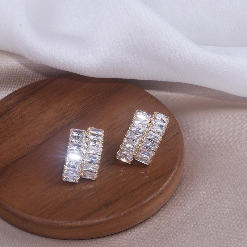New Fashion Luxury Cubic Zirconia Jewelry Gold Color Sparkling Big Geometry Zircon Crystal Stud Earrings For Women Wedding Gift