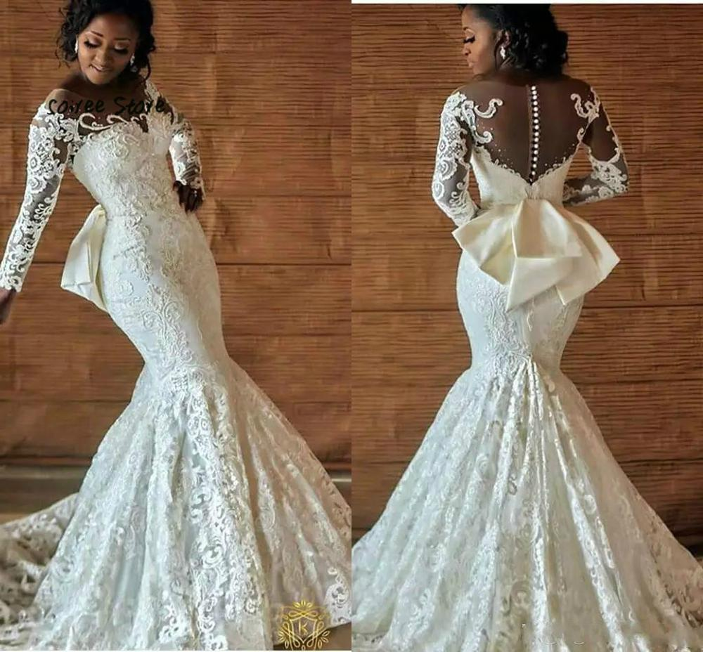 Vintage Mermaid Full Lace Wedding Dresses Long Sleeve Nigerian Wedding Gown Trumpet Scoop Beaded Button Back African Bride 2020