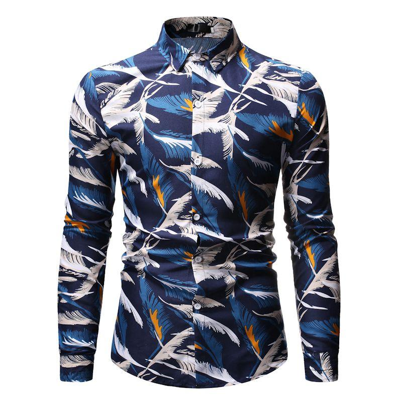 Mens dress Shirts Feather print Long sleeve Men Turn-down Collar Casual Blouse New