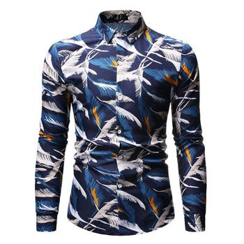 Mens dress Shirts Feather print Long sleeve Men Shirts Turn-down Collar Casual Blouse Men New girls plaid blouse 2019 spring autumn turn down collar teenager shirts cotton shirts casual clothes child kids long sleeve 4 13t