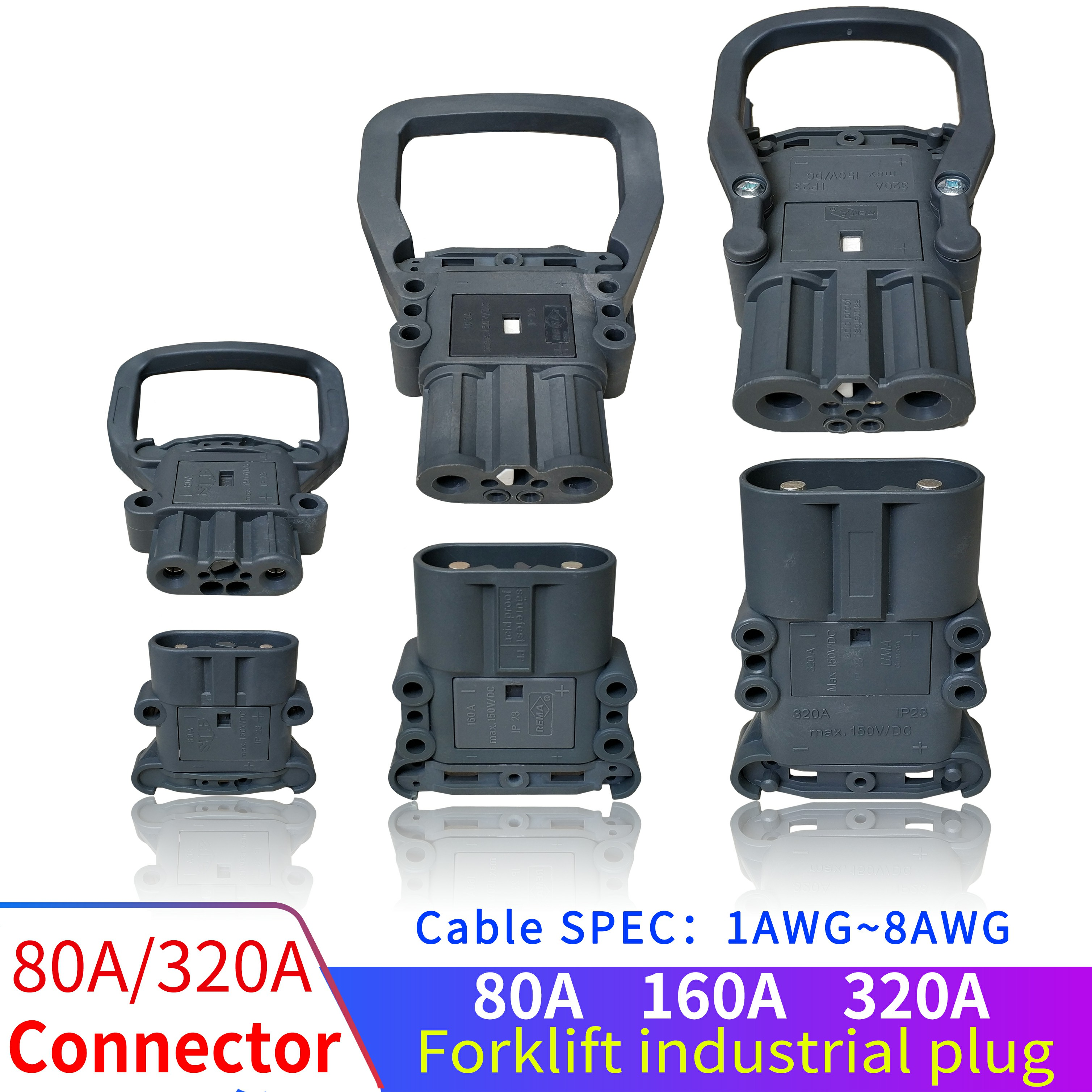Male/Female Plug 80A160A320A High Current Battery Charging Connector Stacker forklift battery charging plugs