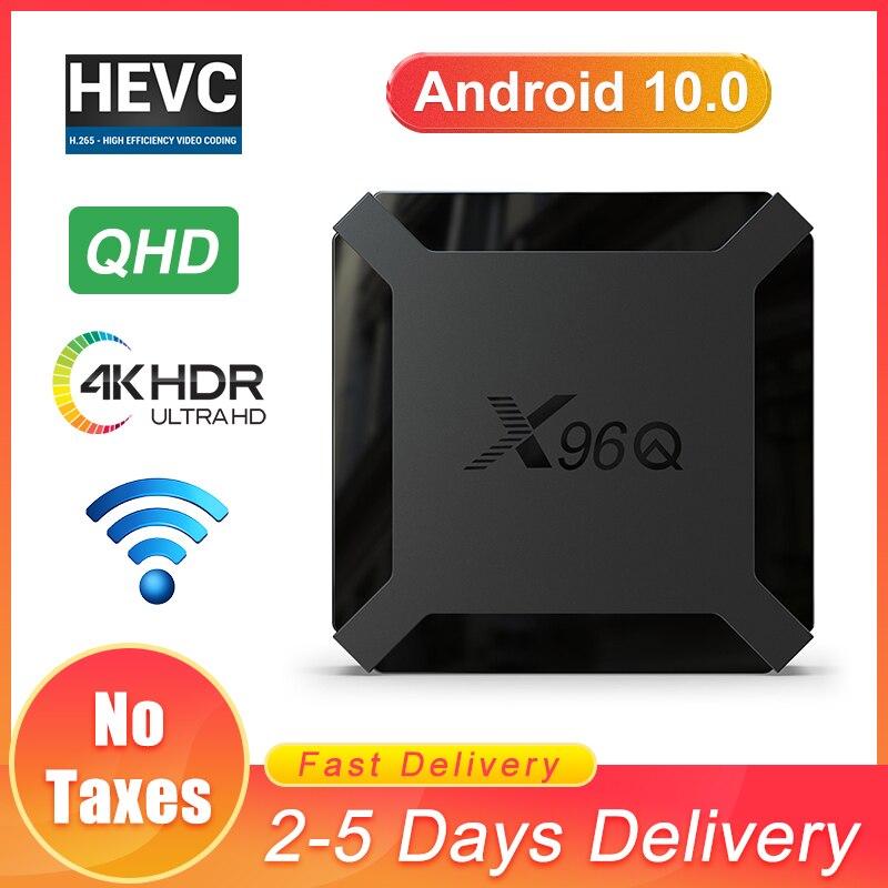 Android TV box QHD X96Q Smart TV box 1G8G 2G16G Android 10 0 2 4G wifi Allwinner H3 4K Support QHD UHD X96Q Android TV receiver