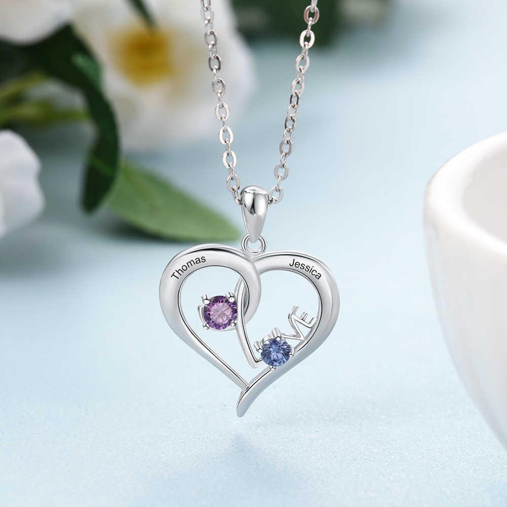 """Personnalisé 925 Sterling argent collier personnalisé noms pierres de naissance coeur avec """"amour"""" pendentif promis bijoux Gfit pour les femmes"""