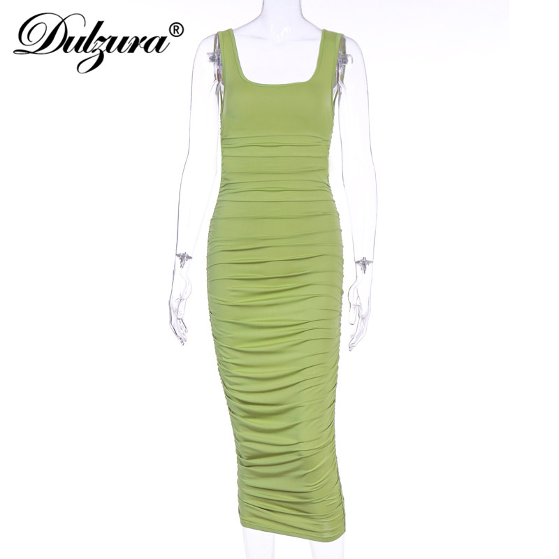Dulzura ruched women midi shirt dress bodycon sexy sleeveless elegant party backless streetwear 2020 spring summer clothes club 5