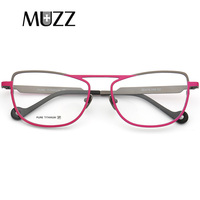 MUZZ Pure Titanium Eyeglasses Frame Cat eye Women Optical Frames Brand Designer Retro Lady Myopia Prescription Eyeglasses frames