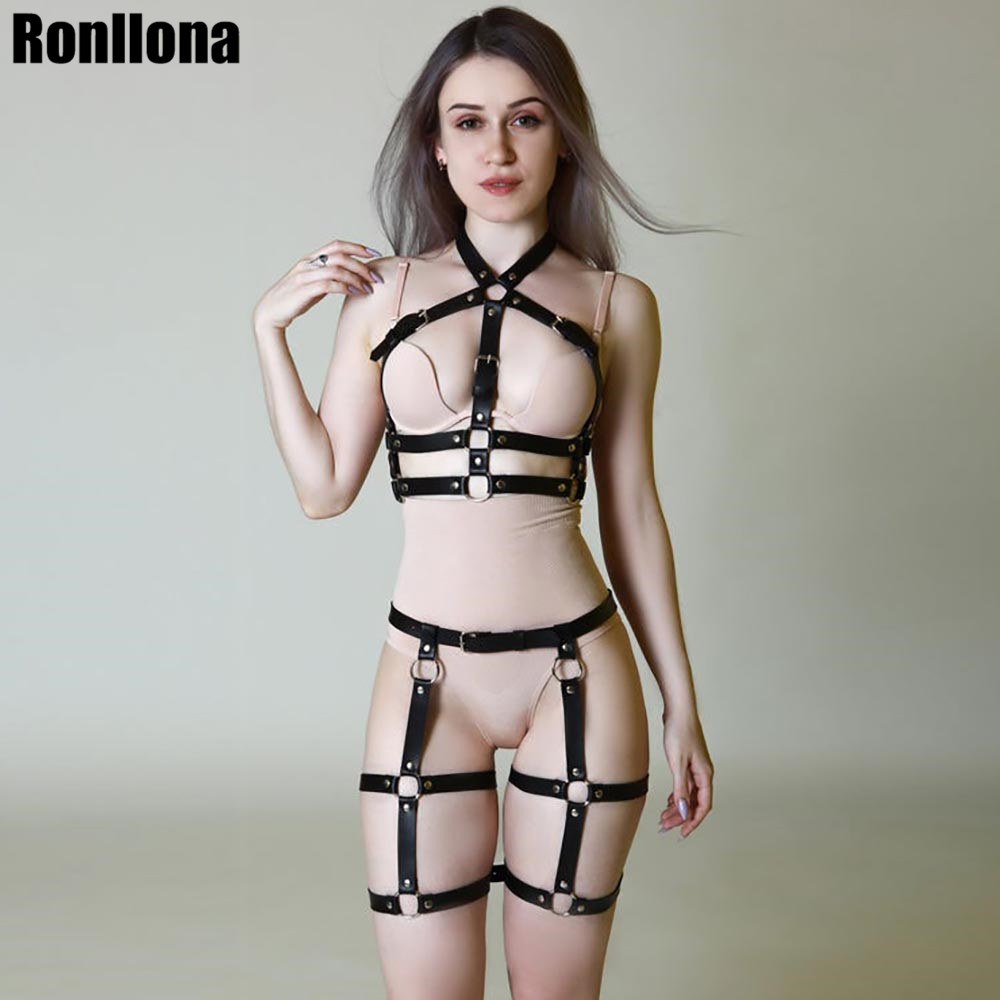 Sexy 2 PCS Leather Harness Set Garter Women Lingerie Belt Goth Bra Suspenders Garter Body Waist Belts Bondage Cage Suspenders