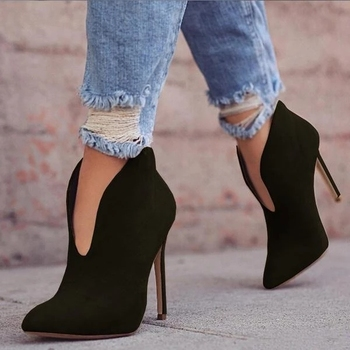 SHUJIN Sexy Women Boots 2019 Autumn V-Neck High Heels Ankle Shoes Boots Pointed Toe Booties Feminina Woman Wedding Party Shoes gaozze black sexy thin high heeled boots women side zipper fashion pointed toe shoes ankle boots for woman heels 2017 autumn