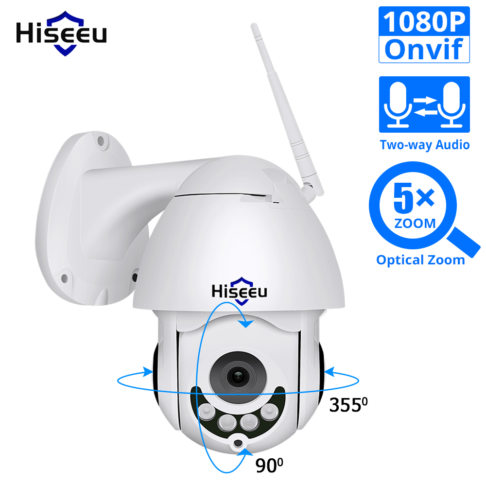 Hiseeu 1080P WiFi IP Camera PTZ 5x Optical Zoom Speed Dome Camera Outdoor Waterproof 2mp CCTV Surveillance 2 Way Audio Onvif