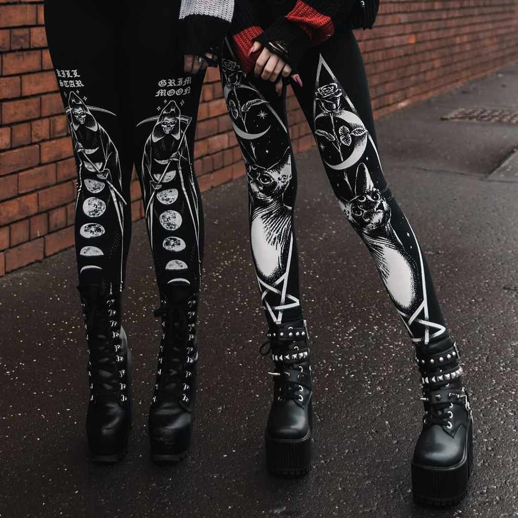 Phong Cách Kiến Trúc Gothic Co Giãn Skinny Legging Nữ Thời Trang Gót Giày Sneaker In Áo Thu Đông Cao Cấp Quần Legging Nữ Jeggings