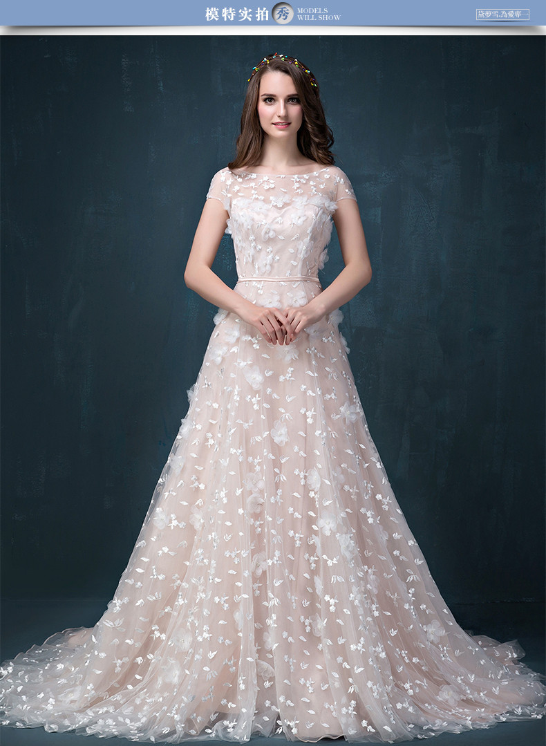 Bridal Gown 2018 Elegant Vestido De Noiva Flowers Scoop A-Line Short Sleeve With Sashes Floor Length Mother Of The Bride Dresses