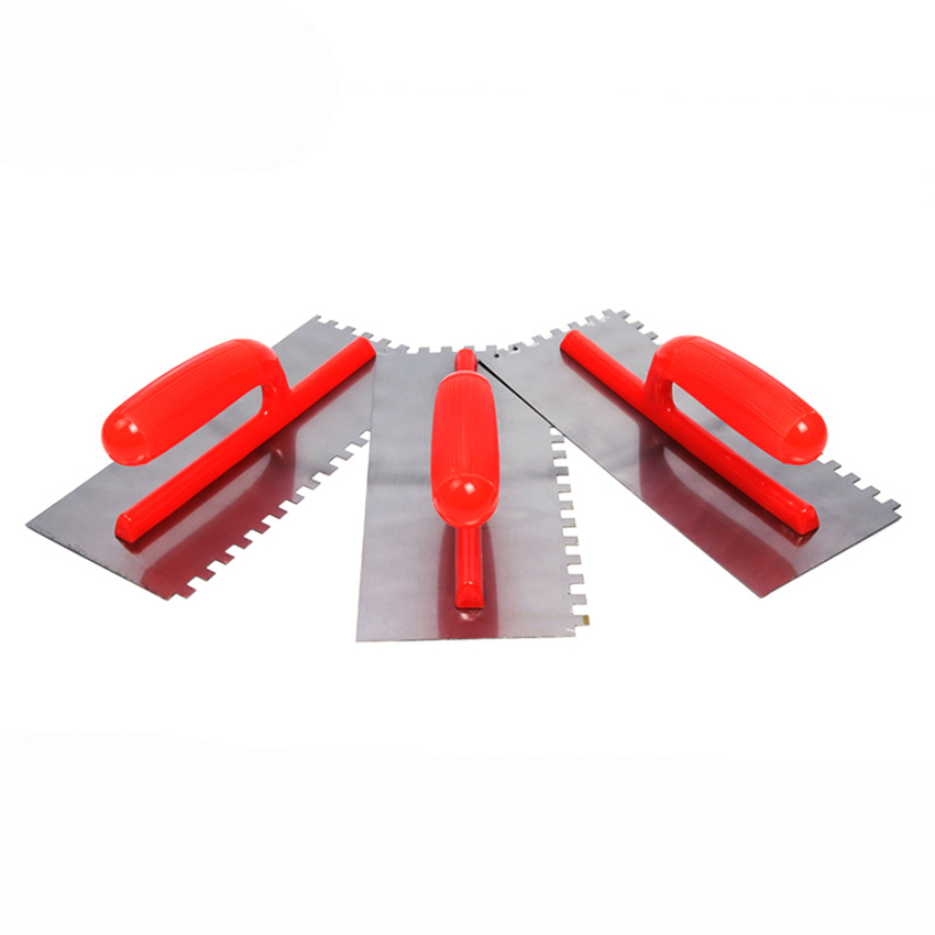 8x8mm / 6x6mm Stainless Steel Plaster Finishing Trowel With Square Notch Anti-slip Plastic Handle Tile Scraper Building Tool