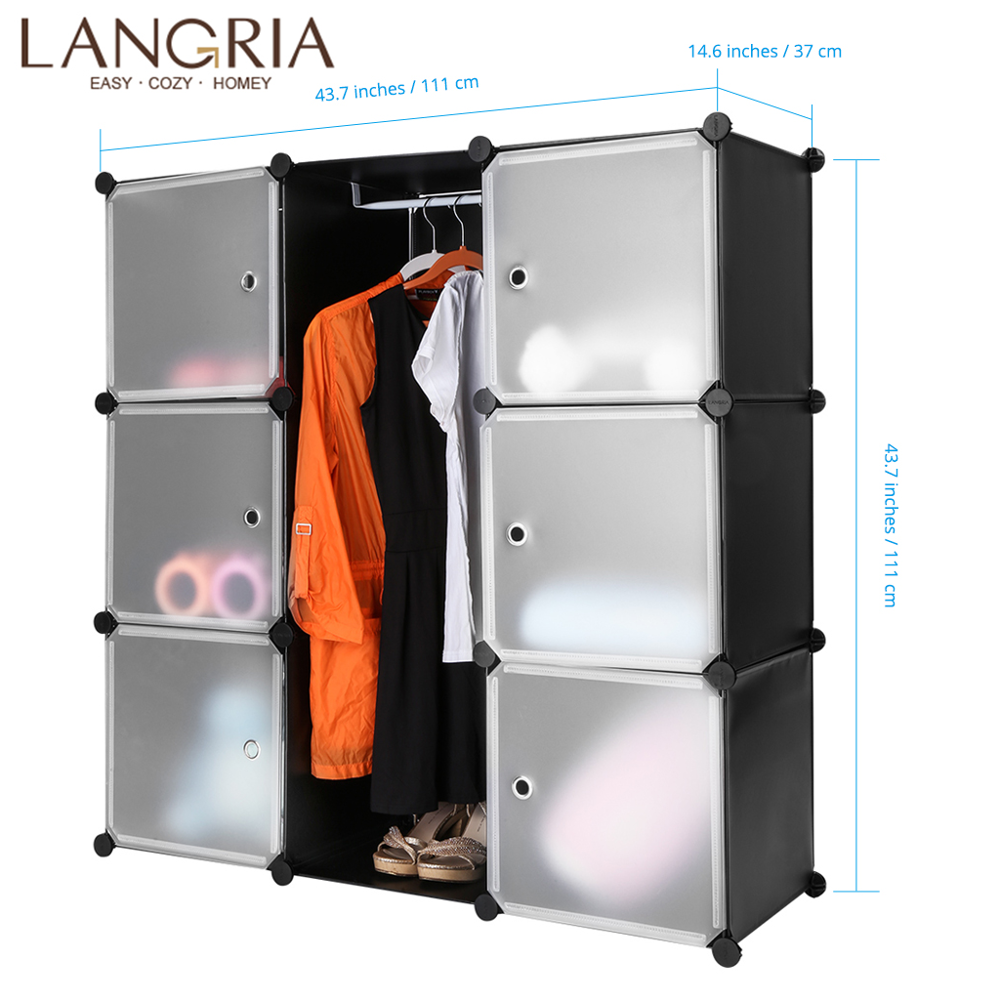 LANGRIA 9 Cube DIY Simple Wardrobe Modular Household Storage Cabinet Plastic Cube Mutiluse Bedroom Living Room Translucent White