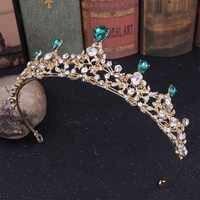 Mode Grün Gold Blau Wasser-tropfen Kristall Tiaras Kronen Royal Queen Prinzessin Diadem Braut Braut Hochzeit Haar Schmuck