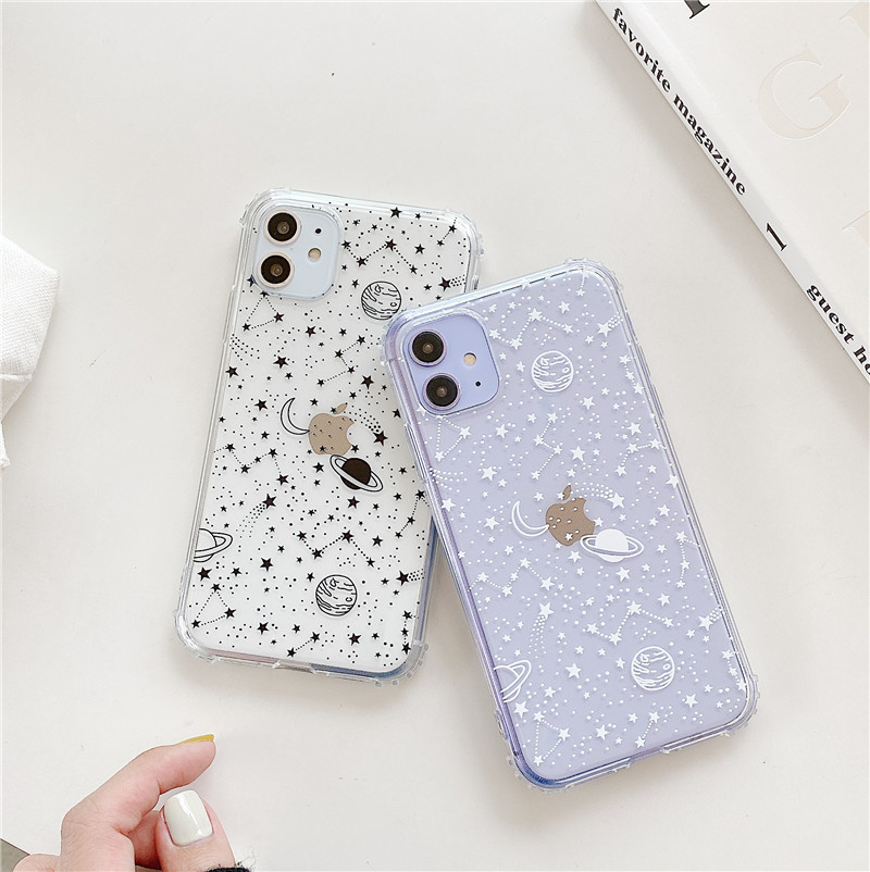 Cartoon Planet Stars Shockproof Phone Case For iPhone 11 Pro Max XR XS Max 7 8 Plus X Soft TPU Clear Cute Back Cover Coque