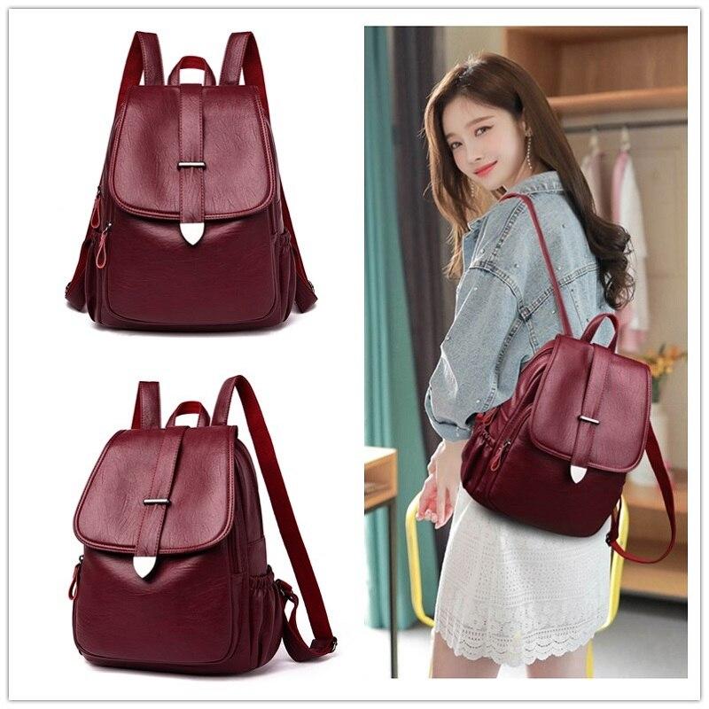 Mochila de cuero de alta calidad para mujer, mochila negra de viaje de moda, mochila de gran capacidad para niña