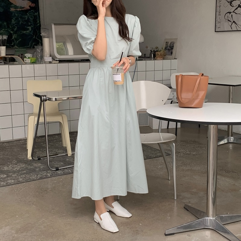 Hbff45bc08c91444c913f87a061e46994Z - Summer O-Neck Short Sleeves Elastic-Waist Calf Length Solid Dress
