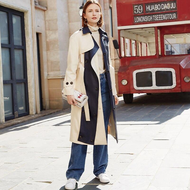 AEL Women Elegant Slim Trench Coat Patchwork PU Wind Coat Ladies Autumn Winter Outdoor Fashion Casual Long Coat Streetwear