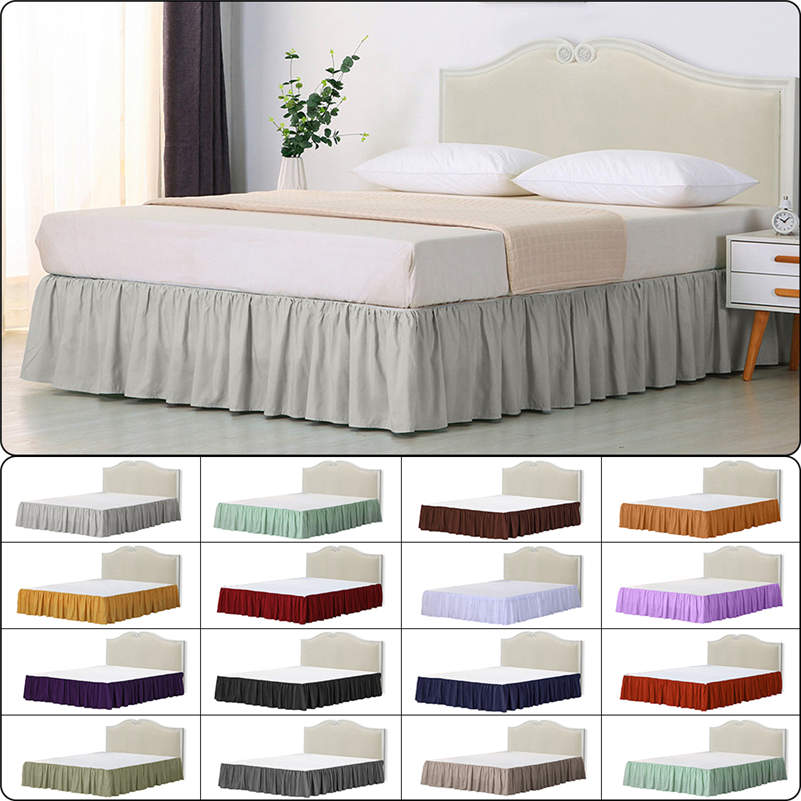 Soft Elastic Bed Ruffle Skirt Fit Wrap Around Twin Full Queen King Bed Skirt