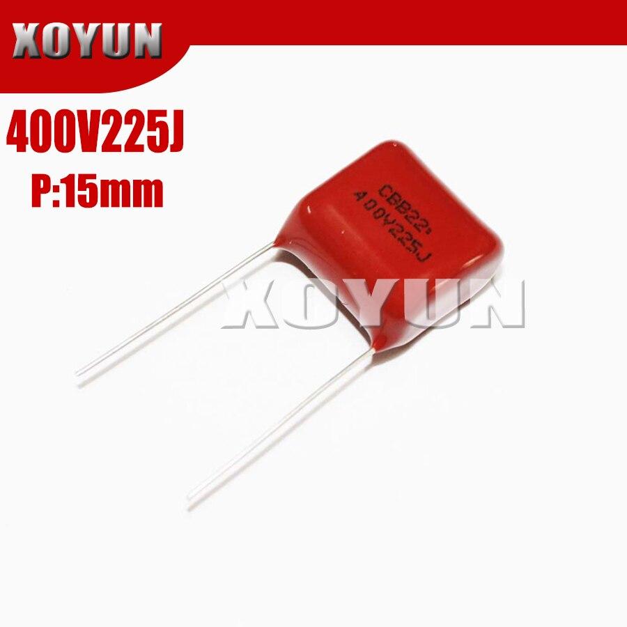 10PCS 400V225J 2.2UF Pitch 15MM 225J 400V CBB Polypropylene Film Capacitor