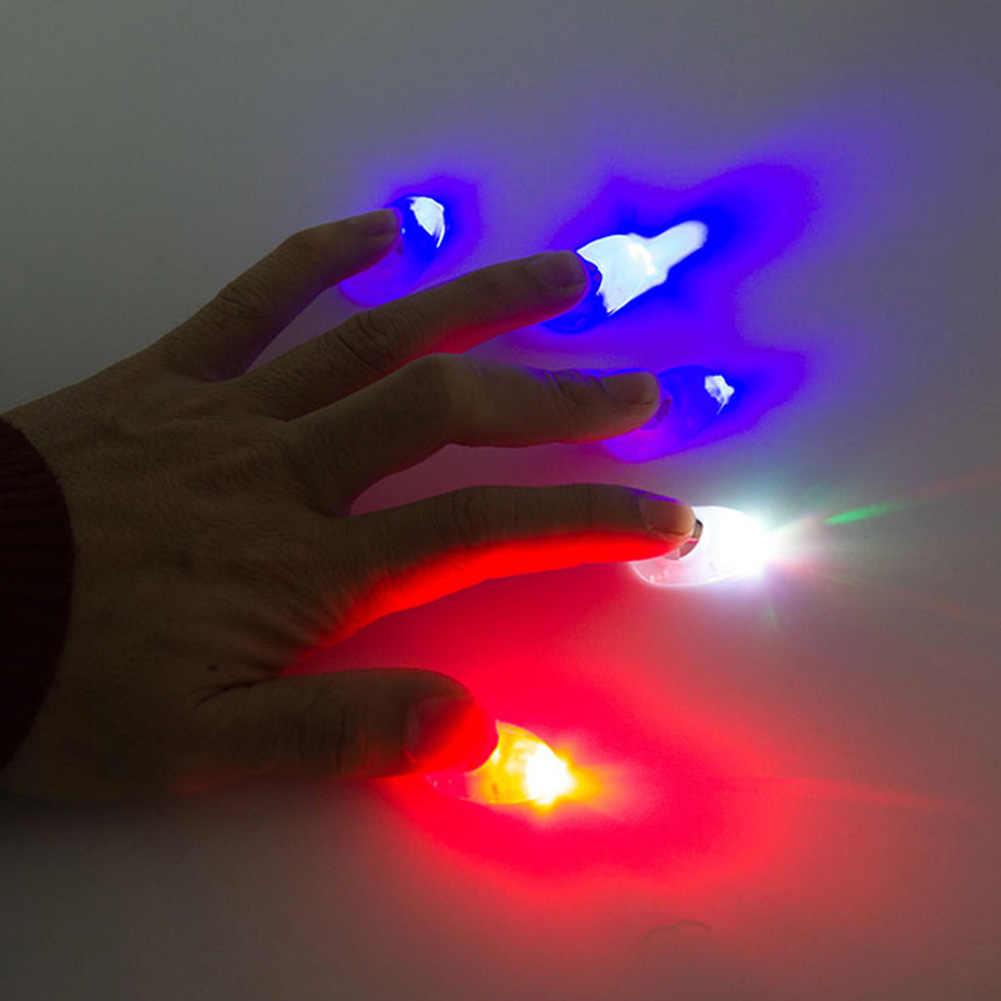 2Pcs Magia LED Alimentato A Batteria Pollici Fingers Luce Trucco Prop Rifornimento Del Partito Magia Produttori di Luce Rossa Up Suggerimenti Con HA PORTATO LA Magia