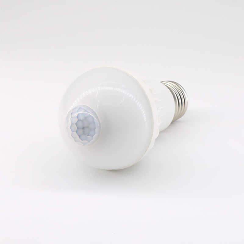 E27 умный светодиодный лампочка 100-240V движения PIR Сенсор светодиодные лампы 5 Вт 7 Вт 9 Вт PIR инфракрасный корпус звука светильник для гаража лестницы коридор