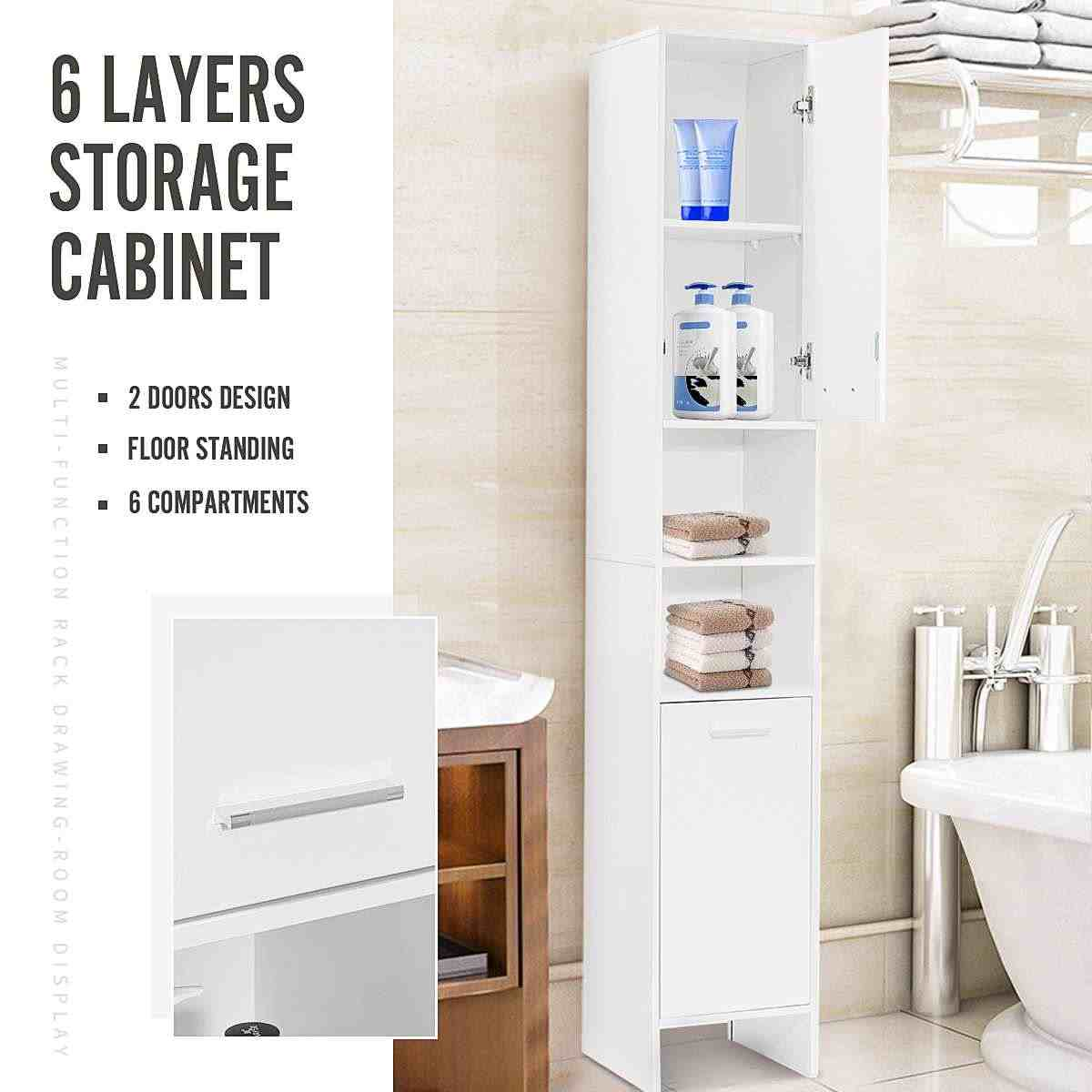 6 Layers Bathroom Cabinet 170x30x30cm