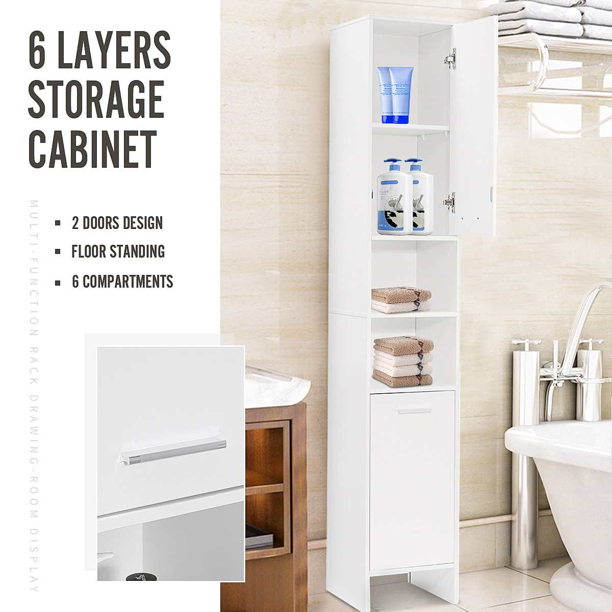 6 Layers Bathroom Cabinet 170x30x30cm Large Cabinet Toilet Furniture Cupboard Shelf Storager Modern Style With Rack For Kitchen