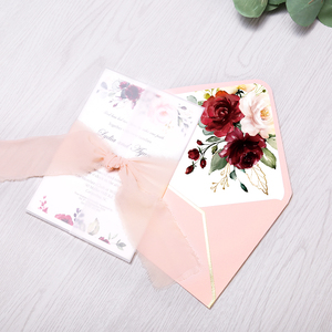 Image 2 - 50pcs Wedding Invitations Burgundy Color with Flower Envelope, Ribbon for Wedding