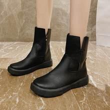 Женские ботинки челси на толстой подошве черные оксфорды зимняя