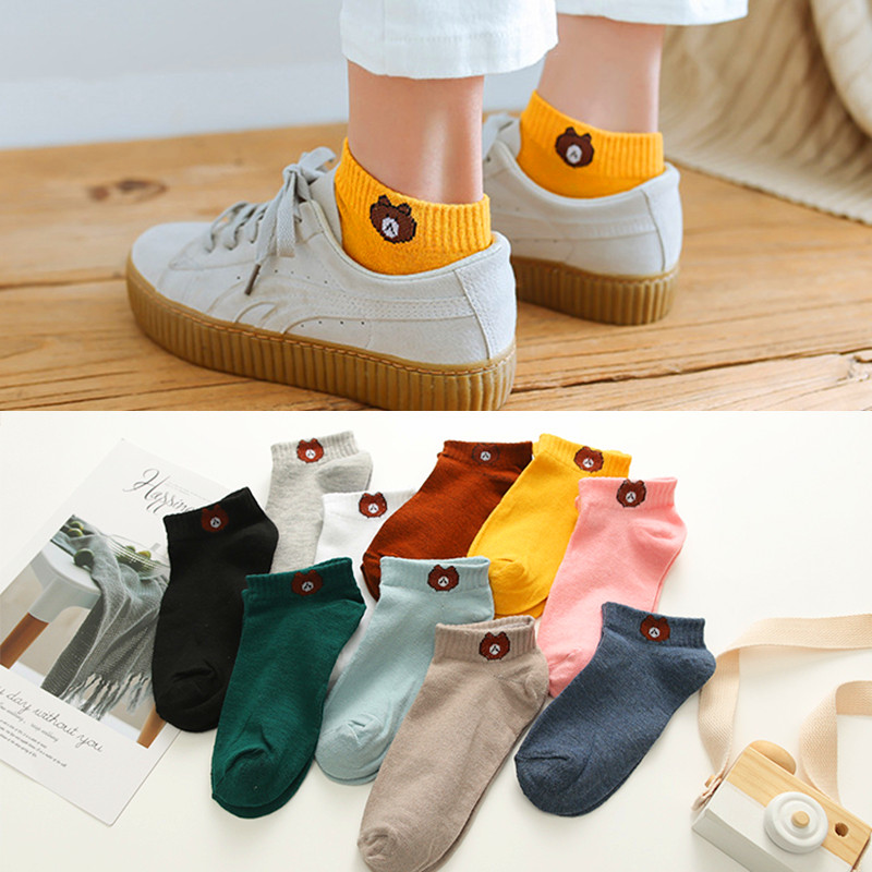 1 Pair Women Socks 2019 Spring Summer Lady Socks Cotton Color Cute Cartoon Embroidery Female Fashion Socks Girls Korean Style