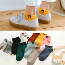 1 Pair Women Socks 2019 Spring Summer Lady Socks Cotton Color Cute Cartoon Embroidery Female Fashion Socks Girls Korean Style