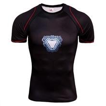 New Dry Fit Mens Running T Shirts Compression Short Sleeve Iron Man Bodybuilding Tights Top Gym Sport Shirt Men Rashgard Jersey