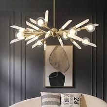 Nordic luxo preto ouro metal g9 led lustre de vidro tons g4 led lustre iluminação haste pingente lustre lamparas