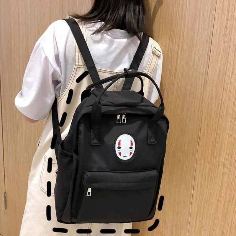Harajuku Women's Black Backpack Laptop School Bags No Face Spirited Away Casual Cute Rucksack Female Canvas Travel Backpacks
