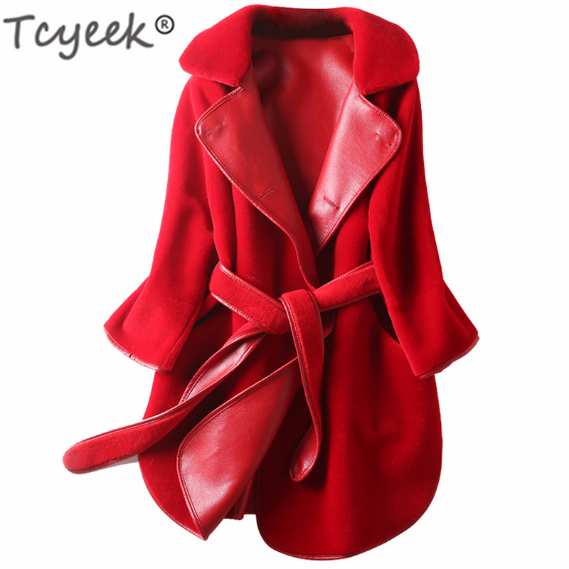 Tcyeek Real Fur Coat Female Winter 100% Sheep Shearing Jacket Women Clothes 2019 Vintage Wool Jackets Belt Korean Fur Top LL0029
