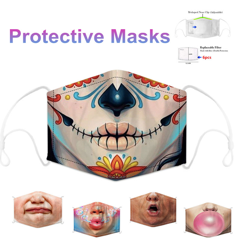 Reusable Mascarillas Grimace Maska Cute Cartoon Mask Breathable Maskovat Protective Face Mouth Mask Bacteria Proof Flu Maskere