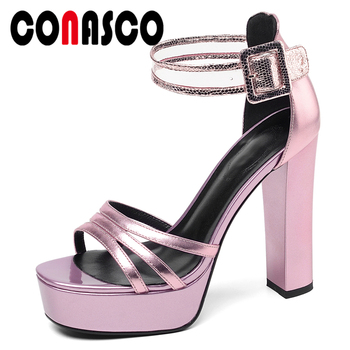 CONASCO Genuine Leather Women Sandals Pumps Summer Fashion Elegant Wedding Party Narrow Band Ankle Strap High Heels Shoes Woman