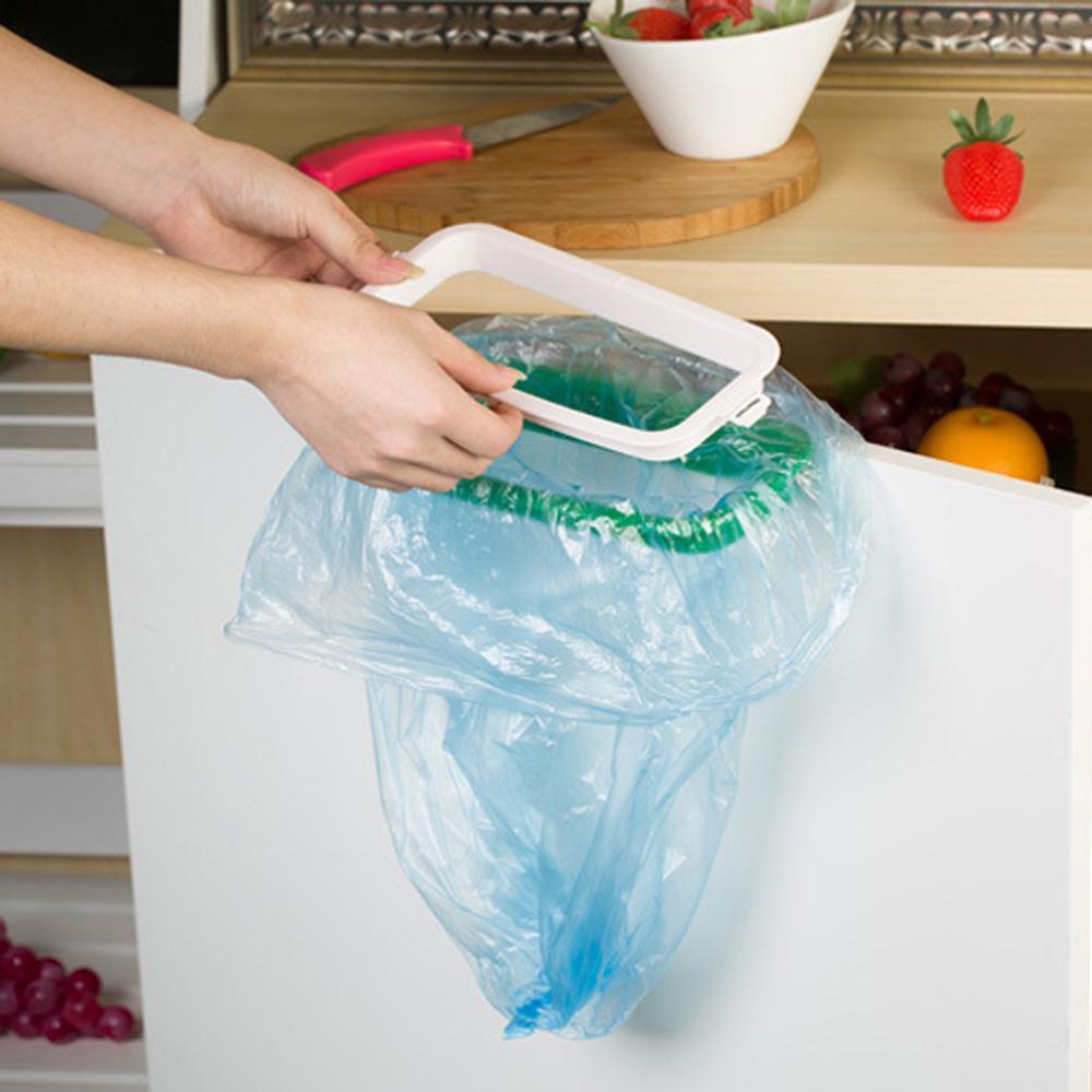 1PC Plastic Garbage Bag Rack Portable Hanging Trash Rubbish Bag Storage Rack Holder Kitchen Gadgets Storage Rack Cupboard Door