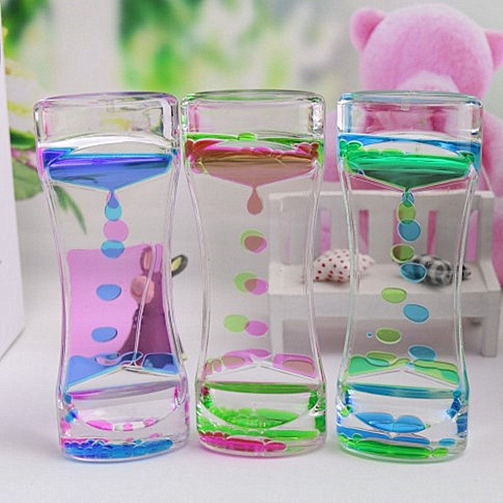Drip Oil Acrylic Hourglass Desktop Colored Decoration Liquid Motion Bubble Hourglass Liquid Floating Oil Hourglass Gifts Toys