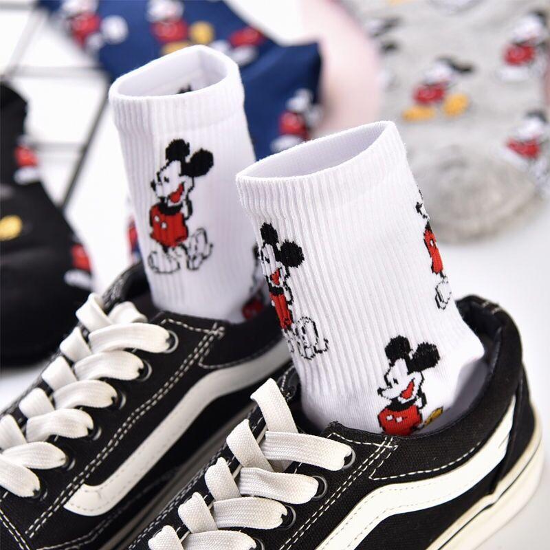 Disney для девочек повседневные милые женские носки с рисунками зверей из мультфильмов «Микки Маус»; Женские носки смешные счастливых Улица в...