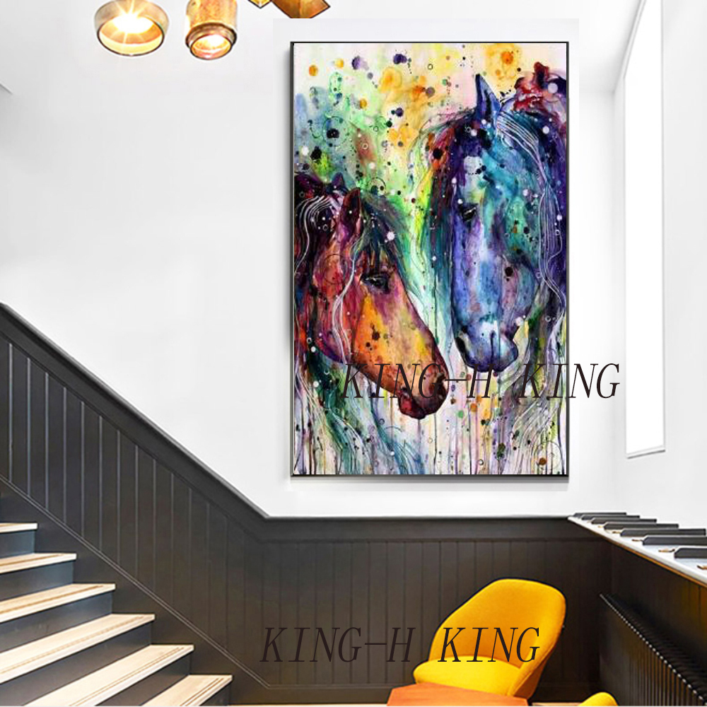 Brown Horse Oil Painting On Canvas Handpainted High Quality Beautiful Horse Picture On Canvas For Living Room Wall Art Decor in Painting Calligraphy from Home Garden