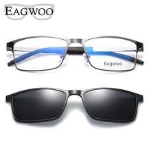 Mıknatıs gözlük tam jant optik çerçeve reçete Metal alaşım gözlük erkekler miyopi gözlük çoklu kullanım güneş gözlüğü 996