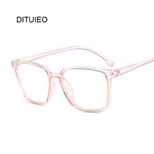 Optyczne przezroczyste oprawy do okularów mężczyźni kobiety Vintage kwadratowe okulary fałszywe szkło Retro ręcznie przezroczyste soczewki przezroczyste okulary tanie tanio DITUIEO Unisex Z tworzywa sztucznego Stałe
