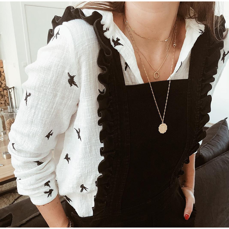 Femmes chemise de grande taille 5XL hauts oiseaux imprimé simple boutonnage femme chemises 2020 printemps été ample décontracté dames haut tendance
