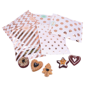 25/100pcs Rose Gold Paper Bag flat Birthday Wedding Party Favor Candy Gift Bags Food cookie Treat Craft Paper Popcorn Bags