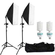 Softbox kit para fotografia com 2 peças 50x70cm, conjunto de iluminação contínua de estúdio de fotografia, lâmpada 135w para estúdio fotográfico tiro de vídeo