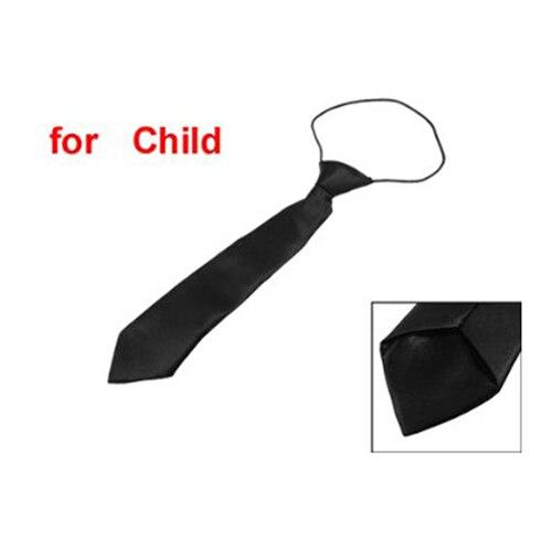 Solid Black Polyester Elastic Slim Necktie Neck Tie For Child