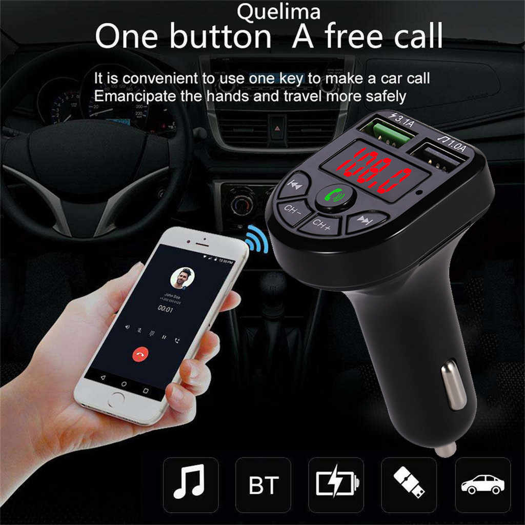 #20 # سيارة لاسلكية Blueteeth طقم جهاز بث إف إم للسيارة حر اليدين الدعوة مشغل MP3 بطارية الجهد عرض المزدوج USB اكسسوارات السيارات