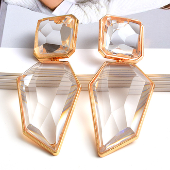 Clear And Pure Crystal Irregular Dangle Earrings  1