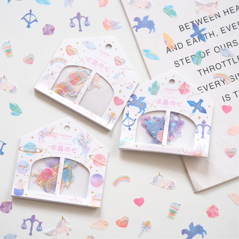 Crystal Heart Balance Decorative Stickers Adhesive Stickers DIY Decoration Diary Stationery Stickers Children Gift